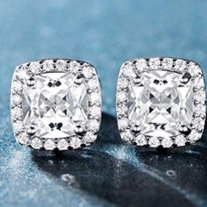 18K white gold  Plated Square CZ Earrings